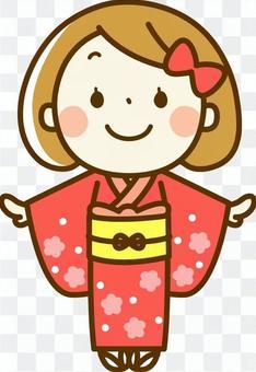 女孩穿著和服