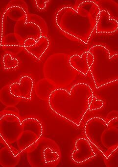 斑點的心和蓬鬆的情人節背景
