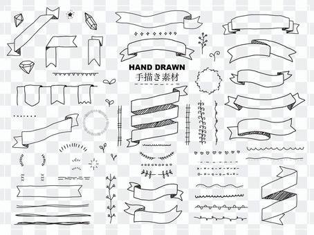 手描きイラスト素材リボンフレームセット