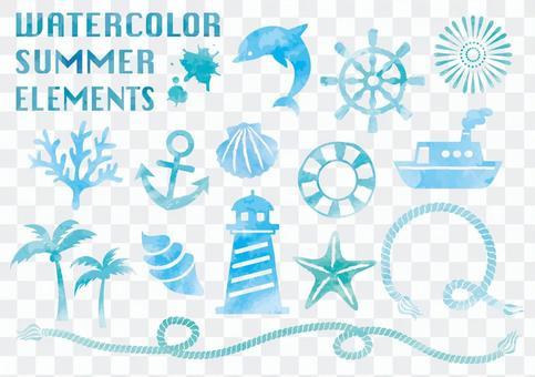 夏季水彩素材集