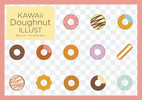 Cute donut illustration set