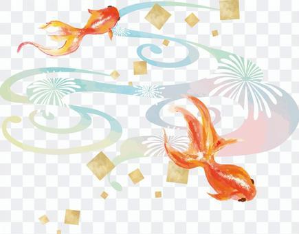 日式金魚水彩背景 Ryo