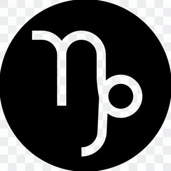 Capricorn mark circle icon