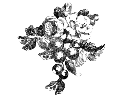 Antique retro line art flowers