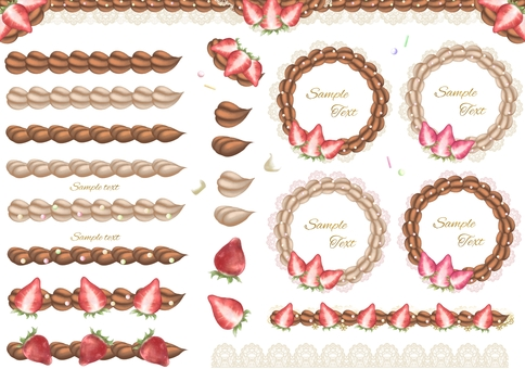 Strawberry and chocolate whipped line frame set