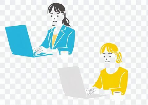 在計算機上工作的女人的插圖