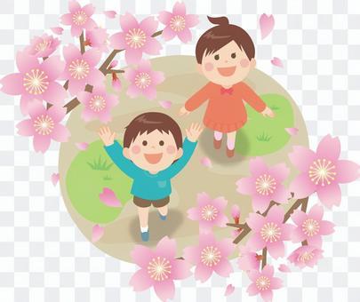 櫻花和兒童