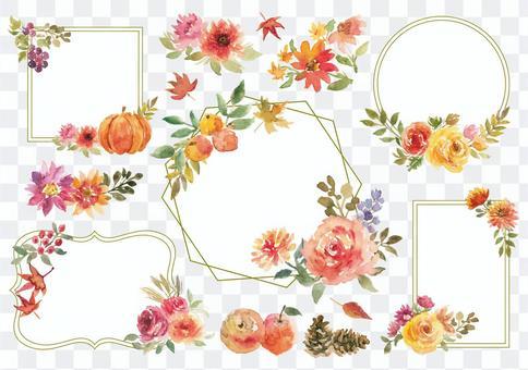 秋天水彩花華麗的框架集