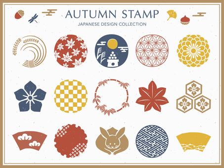 秋季日式符號插圖和框架集