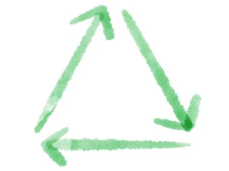 三角 四角 水彩 緑