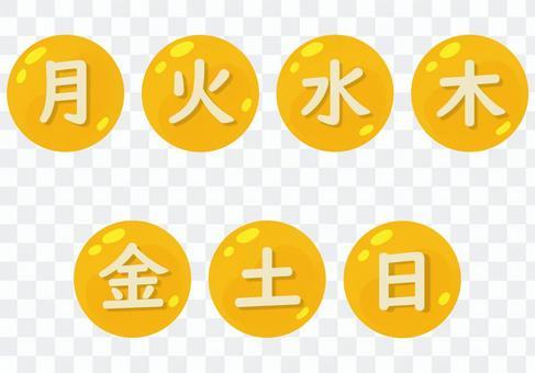 黃色圓形星期幾