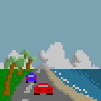 像素藝術復古駕駛遊戲
