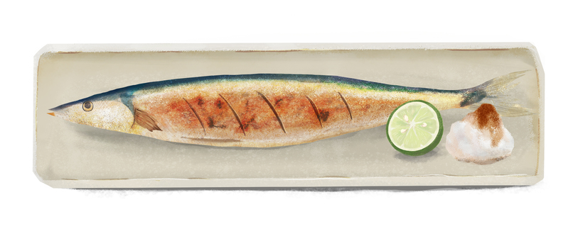 Grilled saury on a plate