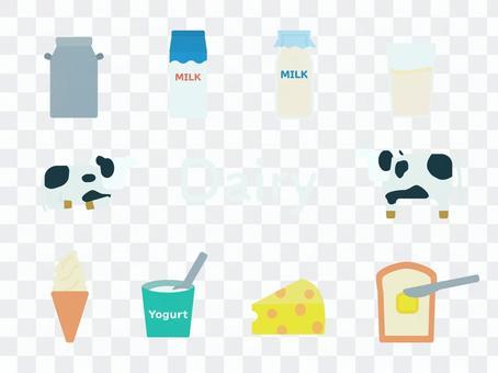 乳製品のアイコンセット