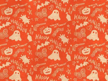 ハロウィン総柄 オレンジ 壁紙