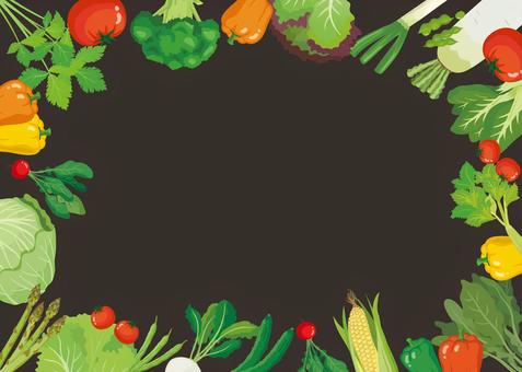 Blackboard-style vegetable background frame (box)