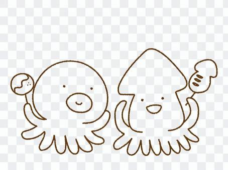 Loose squid and octopus