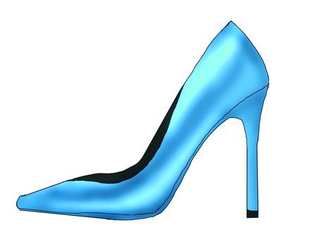 Glossy blue high heels