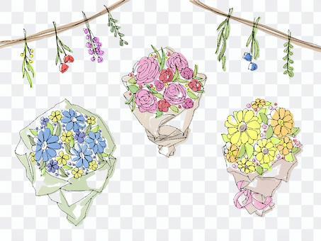 手繪可愛花束圖