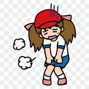 在體育課和體育課上感覺不舒服的女孩