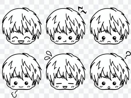 男孩[表情集合](黑色和白色)