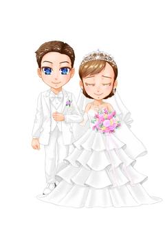 一個人-一對夫婦舉行儀式的插圖