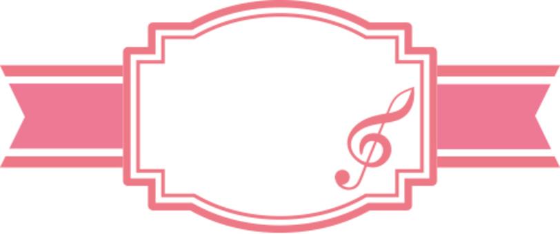 Ribbon label of sound symbol Pink type