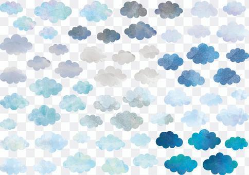 天氣水彩雲地球顏色A4