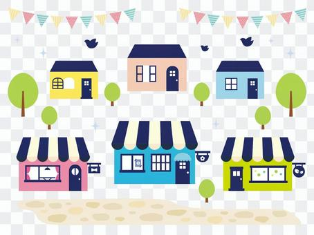 Illustration material of shops and townscape