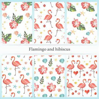 Flamingo and hibiscus