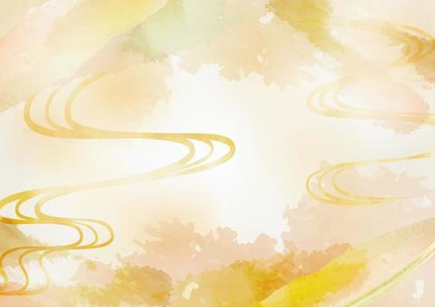 和風素材 幻想的な金色の背景