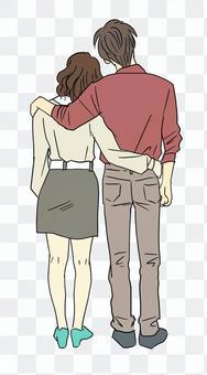 夫婦牽著肩膀