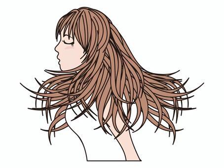 *在年底存放的女性頭髮
