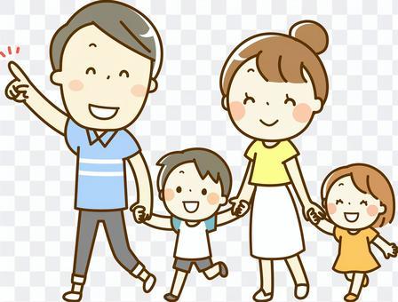 和家人一起散步