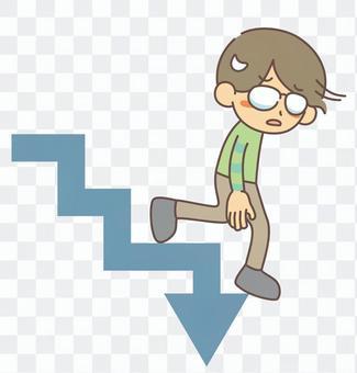 ステップダウン 階段を下るメガネの男性