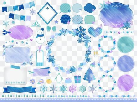 冬天,雪花/水彩風格框架氣球套