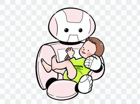 抱著一個嬰兒的機器人