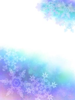 藍色水彩雪花框(豎)