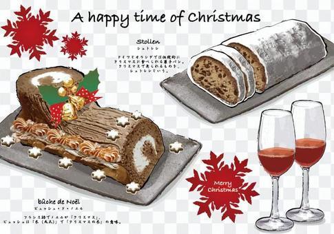 有趣而美味的聖誕節一筆樣式