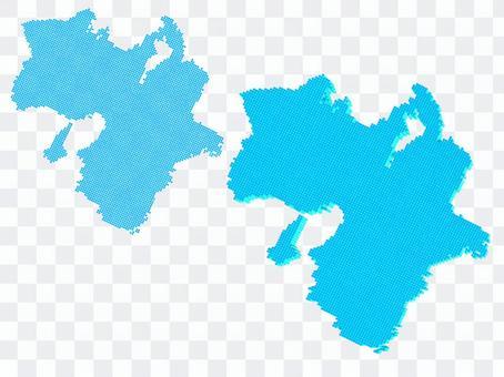 關西近畿地圖點地理藍色