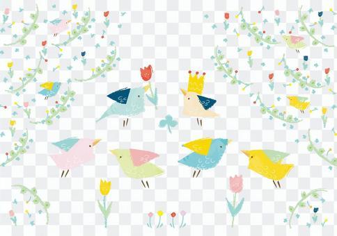 花和小鸟的信件的材料