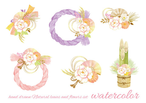 水彩 shimenawa 花圈柔和的顏色
