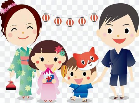 夏季節日家庭插畫