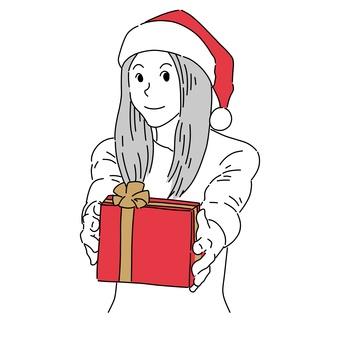 送聖誕禮物的女人