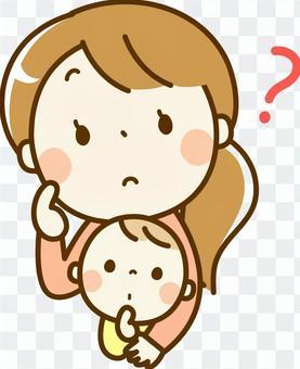 宝贝和妈妈感到怀疑