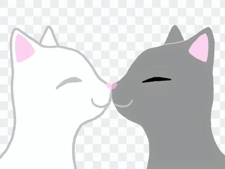 鼻同士をくっつけて挨拶している猫