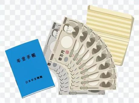 新的養老金筆記本和現金(藍色
