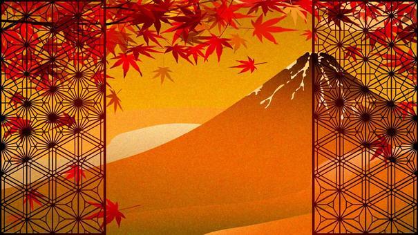秋天的樹葉和辮子鍍金風格紅富士