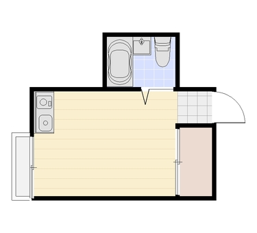 1R Floor plan ② (2D plane character nothing)