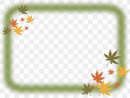 楓葉和框架 - 綠色